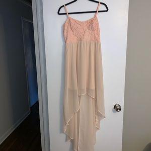Cream Pink high-low dress